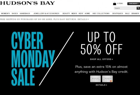 Hudson's Bay Canadian Cyber Monday Sale - Up to 50 off (Oct 13)