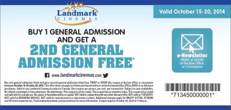 Landmark Cinemas BOGO Coupon - Buy One General Admission Get One FREE (Oct 15-20)