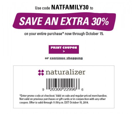 Naturalizer Friends and Family Sale - Extra 30 Off Entire Purchase Promo Code (Oct 9-15)