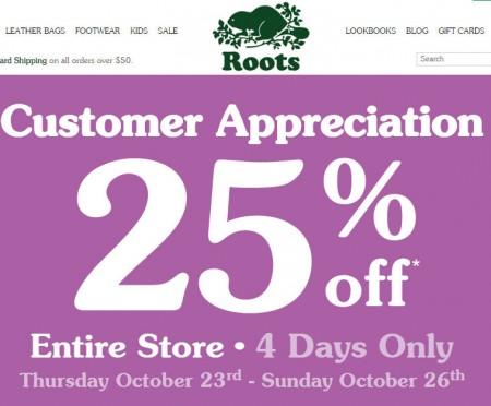 Roots Customer Appreciation - 25 Off Entire Store (Oct 23-26)
