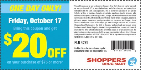 Shoppers Drug Mart $20 Off Coupon on Your Purchase of $75 or More (Oct 17)
