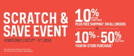 Sport Chek Scratch and Save Event (Oct 2-5)