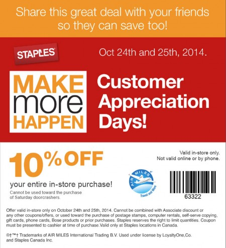 Staples Customer Appreciation Days - 10 Off Entire Purchase Coupon (Oct 24-25)