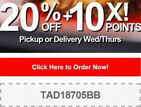 TasteAway Promo Code - 20 Off + 10X Points on Pickup or Delivery Orders (Oct 1-2)