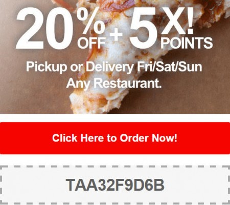 TasteAway Promo Code - 20 Off + 5X Points on Pickup or Delivery Orders (Oct 10-12)