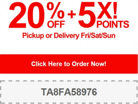 TasteAway Promo Code - 20 Off + 5X Points on Pickup or Delivery Orders (Oct 3-5)