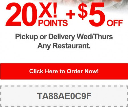 TasteAway Promo Code - $5 Off + 20X Points on Pickup or Delivery Orders at any Restaurant (Oct 29-30)
