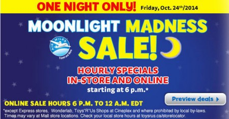 Toys R Us and Babies R Us 1-Night Only Moonlight Madness Sale (Oct 24)