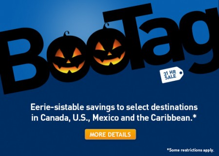 WestJet 31-Hour BooTag Seat Sale (Book by Oct 31)