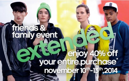 Adidas Friends & Family Event Extended- 40 Off Your Entire Purchase (Nov 10-13)