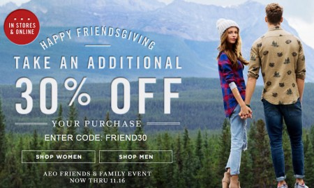 American Eagle Outfitters Friends & Family Event - 30 Off Promo Code + Free Shipping (Nov 14-16)
