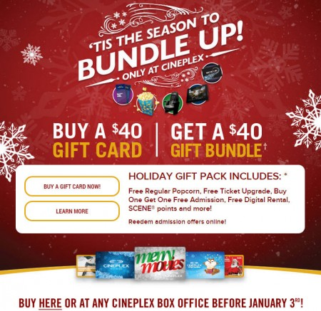 Cineplex Buy $40 Gift Card, Get a $40 Holiday Gift Bundle (Until Jan 3)