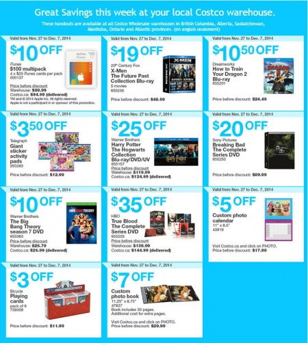 Costco Weekly Handout Instant Savings Coupons (Nov 27 - Dec 7)