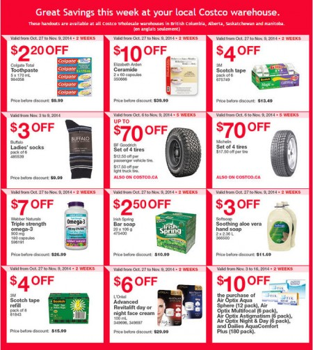 Costco Weekly Handout Instant Savings Coupons West (Nov 3-9)