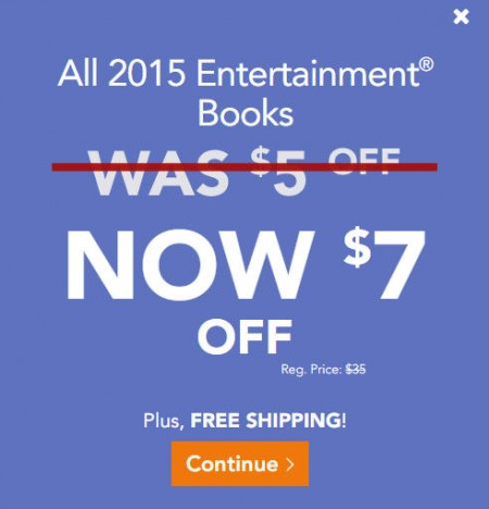 Entertainment Book $7 Off All 2015 Coupon Books + Free Shipping (Nov 6-14)