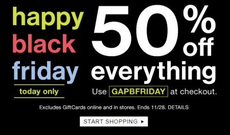 Gap black friday sale 50 off everything promo code for Las vegas hotels black friday deals