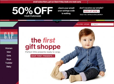 GAP Pre-Black Friday Sale - 50 Off Your Purchase Promo Code (Nov 21-23)