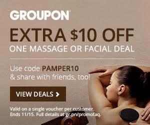 GROUPON Extra $10 Off Massage or Facial Deal Promo Code (Nov 14-15)