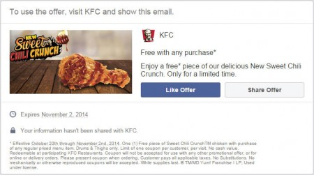 KFC FREE Piece of New Sweet Chili Crunch with Any Purchase (Until Nov 2)