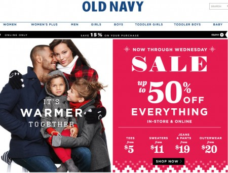Old Navy Up to 50 Off Everything + Extra 15 Off Code