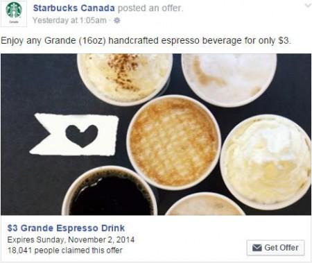 Starbucks Facebook Offer - $3 Grande Espresso Drink Coupon (Until Nov 2)