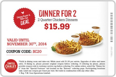 Swiss Chalet 2 Can Dine for $15.99 Coupon (Until Nov 30)