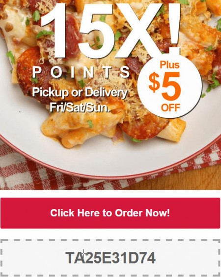 TasteAway Promo Code - $5 Off + 15X Points on Pickup or Delivery Orders at any Restaurant (Oct 30 - Nov 2)