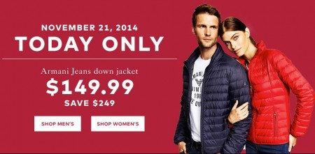 TheBay One Day Sale - 149.99 for Armani Jeans Down Jacket - Save $249 (Nov 21)