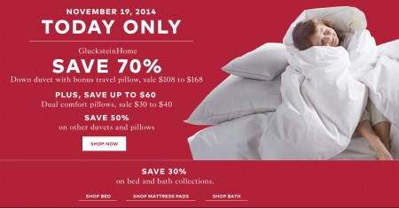 TheBay One Day Sale - 70 Off GlucksteinHome Down Duvet, 50 Off Other Duvets and Pillows (Nov 19)