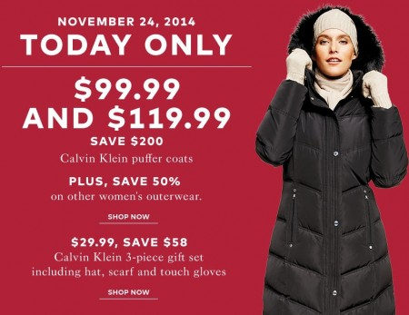 TheBay One Day Sale - $99.99 and $119.99 for Calvin Klein Women's Puffer Coats - Save $200 (Nov 24)