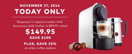 TheBay.com One Day Sale - $149.95 for Nespresso U Espresso Maker - Save $100 Off (Nov 27)