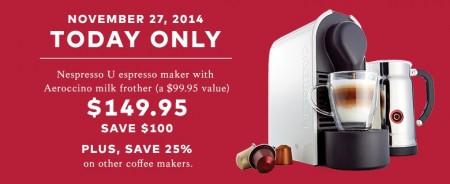 TheBay.com One Day Sale - $149.95 for Nespresso U Espresso Maker - Save $100 Off (Nov 27)