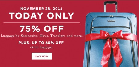 TheBay.com One Day Sale - 75 Off Luggage by Samsonite, Heys, Travelpro and more (Nov 28)