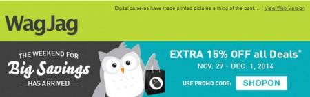 WagJag Black Friday Promo Code - Extra 15 Off All Deals (Nov 27 - Dec 1)
