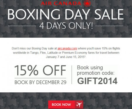 Air Canada Boxing Day Sale - 15 Off Flights Worldwide (Dec 26-29)