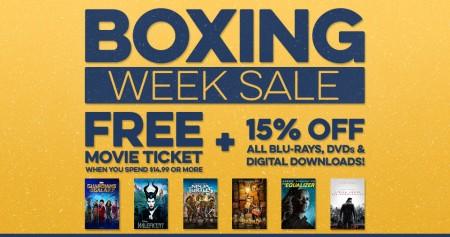 Cineplex Store Boxing Week Sale - Free Movie Ticket + 15 Off Movies (Until Jan 2)