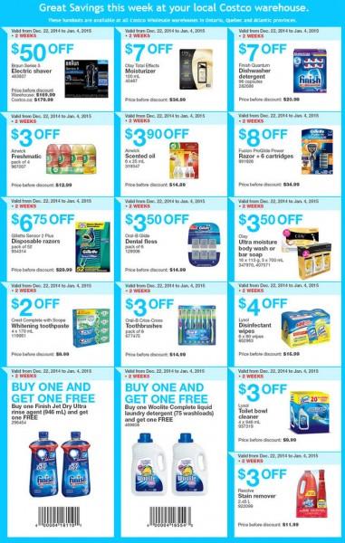 Costco Weekly Handout Instant Savings Coupons East (Dec 22 - Jan 4)