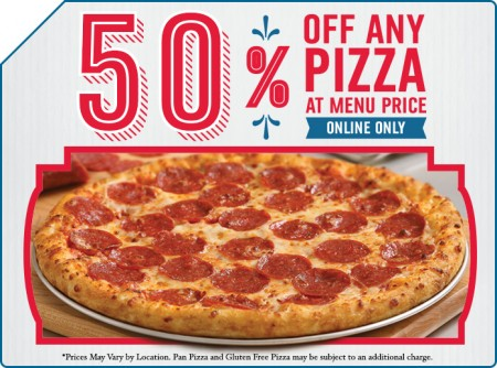 Dominos Pizza 50 Off Any Pizza at Menu Price when you Order Online (Dec 1-7)