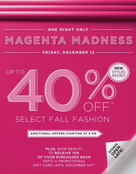Holt Renfrew Magenta Madness - Up to 40 Off Select Fall Fashion (Dec 12)