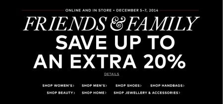 Hudson's Bay Friends & Family Sale - Save up to an Extra 20 Off (Dec 5-7)