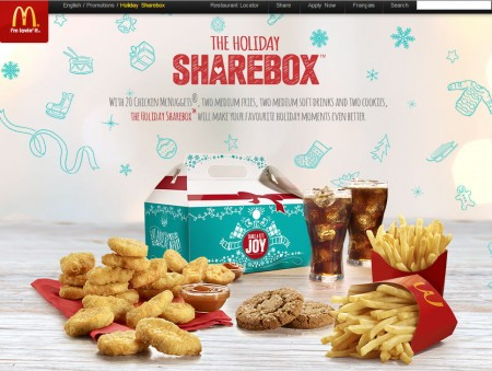 McDonald's The Holiday Share Box - 20 McNuggets, 2 Fries, 2 Drinks and 2 Cookies (Until Dec 25)