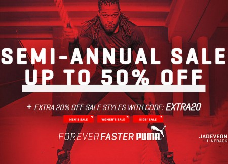 PUMA Semi-Annual Sale - Up to 50 Off + Extra 20 Off Promo Code (Dec 26-29)