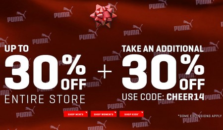 PUMA Up to 30 Off Entire Store + Extra 30 Off Promo Code + Free Shipping (Dec 9-14)