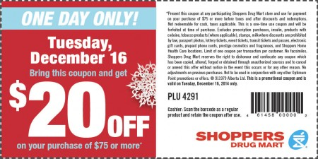 Shoppers Drug Mart $20 Off Coupon on Your Purchase of $75 or More (Dec 16)