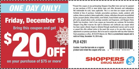 Shoppers Drug Mart $20 Off Coupon on Your Purchase of $75 or More (Dec 19)