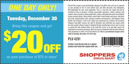 Shoppers Drug Mart $20 Off Coupon on Your Purchase of $75 or More (Dec 30)