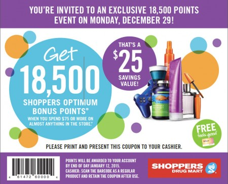 Shoppers Drug Mart Spend $75+ and Get 18,500 Bonus Points (Dec 29)