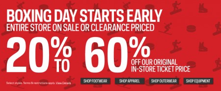 Sport Chek Boxing Day Sale Starts Now - Save 20-60 Off Entire Store + Door Crashers (Dec 21-29)