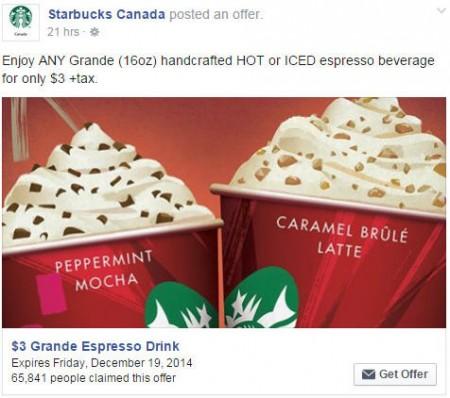 Starbucks Facebook Offer - $3 for any Grande Espresso Drink Coupon (Until Dec 19)