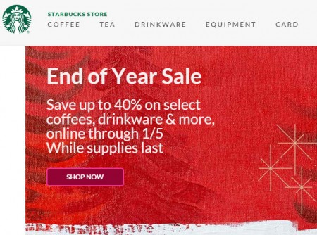 Starbucks Store End of Year Sale - Save up to 40 Off (Until Jan 5)